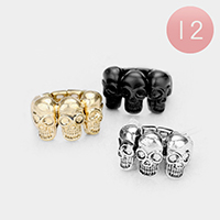 12PCS - Triple Metal Skull Stretch Rings