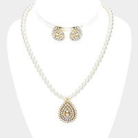 Pearl Crystal Rhinestone Pave Teardrop Dangle Necklace