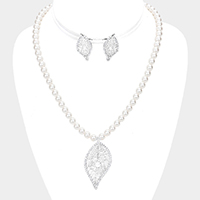 Pearl Crystal Rhinestone Trim Leaf Dangle Necklace