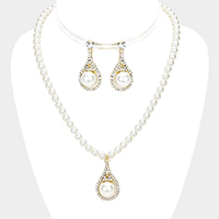 Pearl Centered Crystal Rhinestone Trim Dangle Necklace