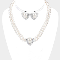 Teardrop Pearl Centered Crystal Rhinestone Trim Necklace