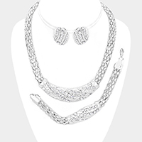 3PCS Rhinestone Crescent Metal Chain Necklace Jewelry Set