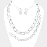3PCS Rhinestone Pave Rectangle Detail Link Necklace Jewelry Set