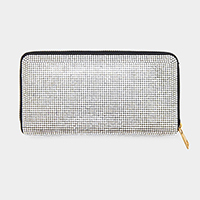 Crystal Rhinestone Pave Zipper Wallet