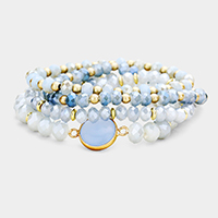 4PCS Round Bead Detail Faceted Beaded Stretch Bracelets