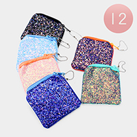 12PCS - Sequin Glitter Coin Zipper Purses