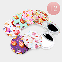12PCS - Cupcake Patterned Print Round Compact Mirrors