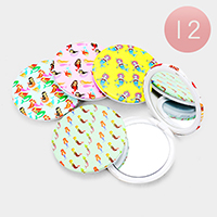12PCS - Memaid Patterned Print Round Compact Mirrors