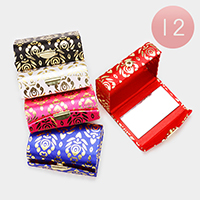 12PCS - Gold Patterned Detail Lipstick Cases with Mirrors