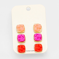 3Pairs Genuine Druzy Square Stud Earrings