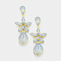 Crystal Flower Teardrop Dangle Evening Earrings