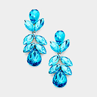 Marquise Floral Crystal Dangle Evening Earrings