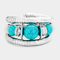 Triple Turquoise Accented Metal Coil Bracelet