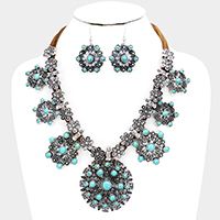 Floral Tribal Turquoise Snowflake Statement Bib Necklace