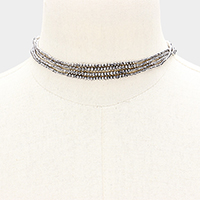 Faceted Beaded Long Wrap Necklace