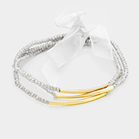 3PCS Beaded Metal Tube Accented Stretch Bracelet
