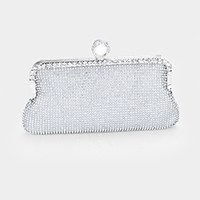 Pearl Shimmery Rhinestone Pave Evening Clutch Bag