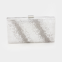 Shimmery Slanted Crystal Rhinestone Pave Evening Clutch Bag
