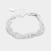 Braided Crystal Rhinestone Pave Evening Bracelet