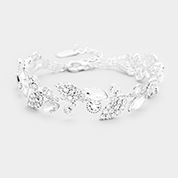 Rhinestone Pave Crystal Oval Leaf Evening Bracelet