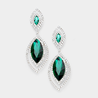 Rhinestone Trim Crystal Oval Evening Earrings