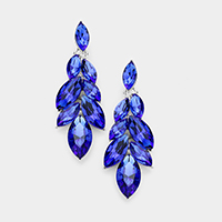 Crystal Oval Cluster Vine Evening Earrings