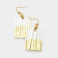 Gold Dipped Lined Rectangle Metal Dangle Earrings