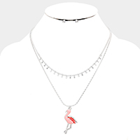 Double Layered Flamingo Pendant Bib Necklace