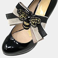 1Pair Sequin Honey Bee Patch Bow Stretch Shoe Accessory