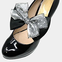 1Pair Mesh Ribbon Bow Stretch Shoe Accessory