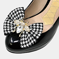 1Pair Houndstooth Crystal Honey Bee Bow Shoe Clip