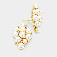 Crystal Rhinestone Pearl Cluster Clip on Earrings