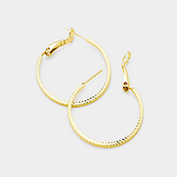 14K Gold Filled 4cm Textured Metal Hoop Earrings