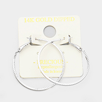 14K Gold Filled 4cm Textured Metal Hypoallergenic Hoop Earrings