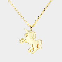 Gold Dipped Metal Unicorn Pendant Necklace