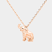 Gold Dipped Metal Elephant Pendant Necklace