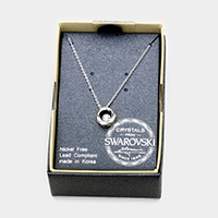 Round Swarovski Crystal Twisted Metal Circle Pendant Necklace