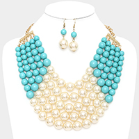 Multi Strand Pearl Bead Ball Bib Necklace