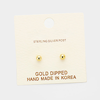 3mm Gold Dipped Metal Ball Stud Earrings