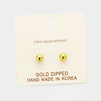 5mm Gold Dipped Metal Ball Stud Earrings
