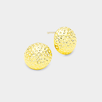Gold Dipped Textured Metal Dome Stud Earrings