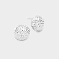 White Gold Dipped Textured Metal Dome Stud Earrings