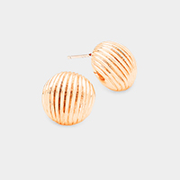 Gold Dipped Lined Metal Dome Stud Earrings