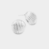 White Gold Dipped Lined Metal Dome Stud Earrings