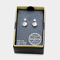 Round Swarovski Crystal Dangling Stud Earrings