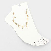Metal Teardrop Station Chain Anklet
