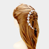 Crystal Rhinestone Pave Flower Leaf Headpiece