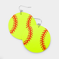 Baseball Leather Dangle Earrings