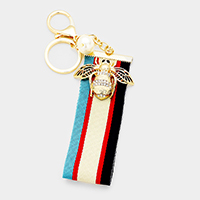 Rhinestone Metal Honey Bee Stripe Grosgrain Strap Key Chain