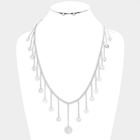 Drop Metal American Coin Fringe Bib Necklace